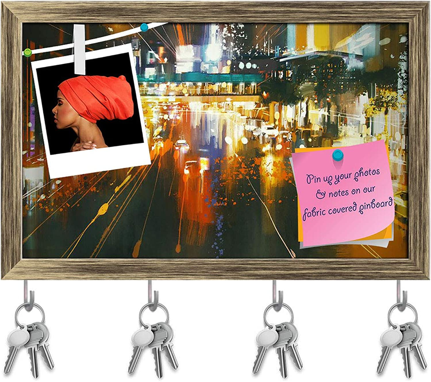 Artzfolio Car Headlights & Taillights On A City Street Key Holder Hooks   Notice Pin Board   Antique golden Frame 19 X 12Inch