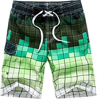 Tailor Pal Love Men's Swimwear Grid Printed Quick-Drying Swimming Running Surfing Shorts with Lining
