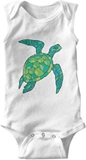 Voslin I Just Really Like Sea Turtles OK White Baby boy Bodysuits Cute Infant