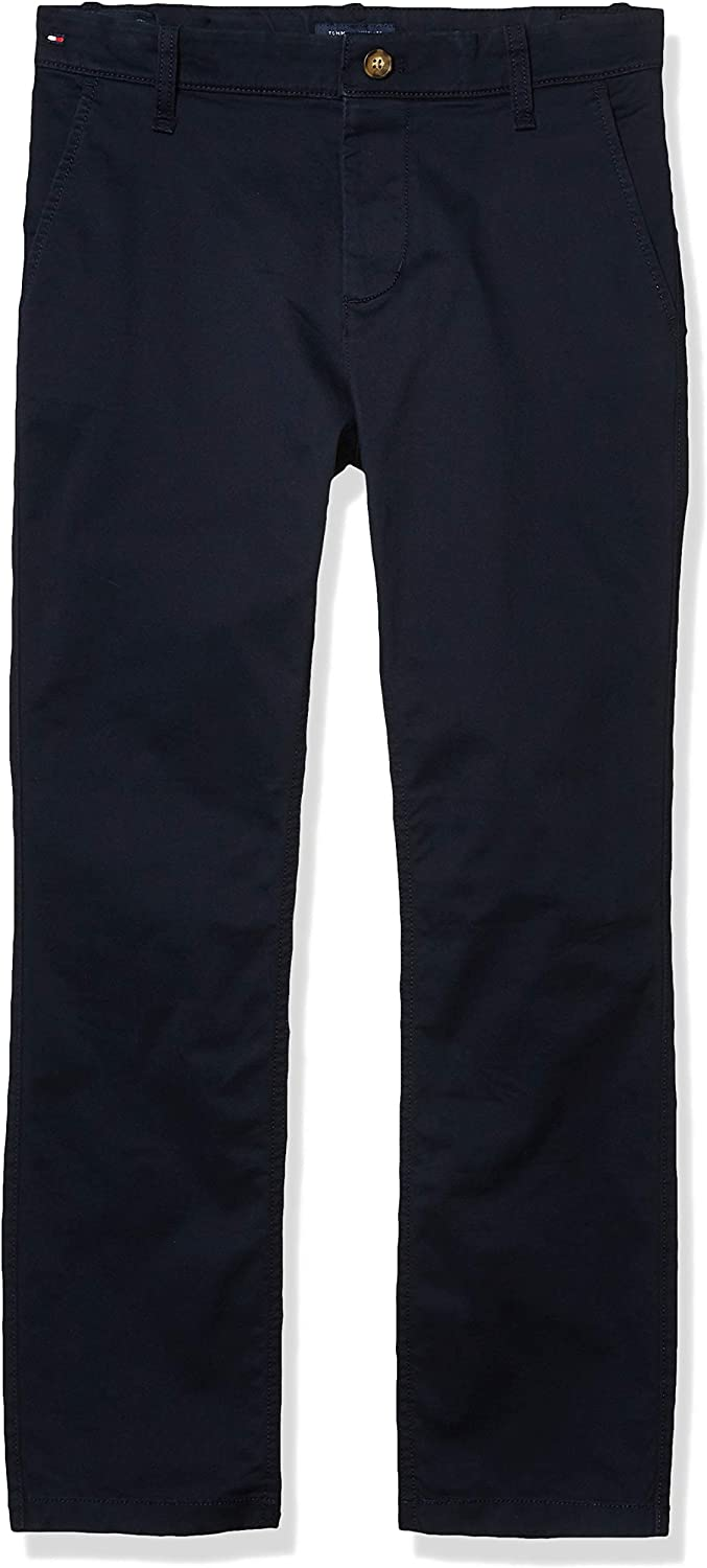 Tommy Hilfiger Boys' Adaptive Chino Pants Stretch Adjustable Waist and Magnet Buttons