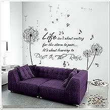 WALPLUS COM-Black Dandelion WS6016 + Dance In Rain FR-WIQF-MQTH - Producto para casa, Color Negro