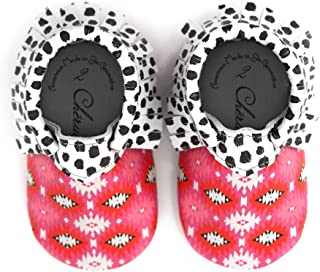 Pink Trendy Boho Geometric Print Black White Dot Design 100% American Leather Moccasins for Babies & Toddlers Made in US