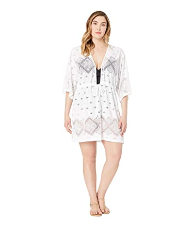 DOTTI Plus Size Santorini Tile Tunic Cover-Up (White) Women