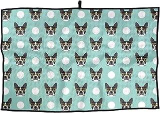 Eplus Waffle Microfiber Golf Towel Light Weight & Quick Drying Boston Terrier Dog Cart Towel 15