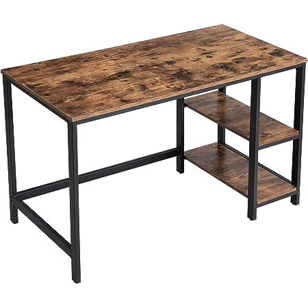 VASAGLE Bureau informatique, Table d'étude, avec étagère à 2 niveaux à gauche ou à droit, pour bureau, salon, cadre en métal, style industriel, Marron Rustique et Noir LWD47X