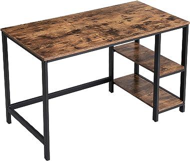 VASAGLE Bureau informatique, Table d'étude, avec étagère à 2 niveaux à gauche ou à droit, pour bureau, salon, cadre en métal,