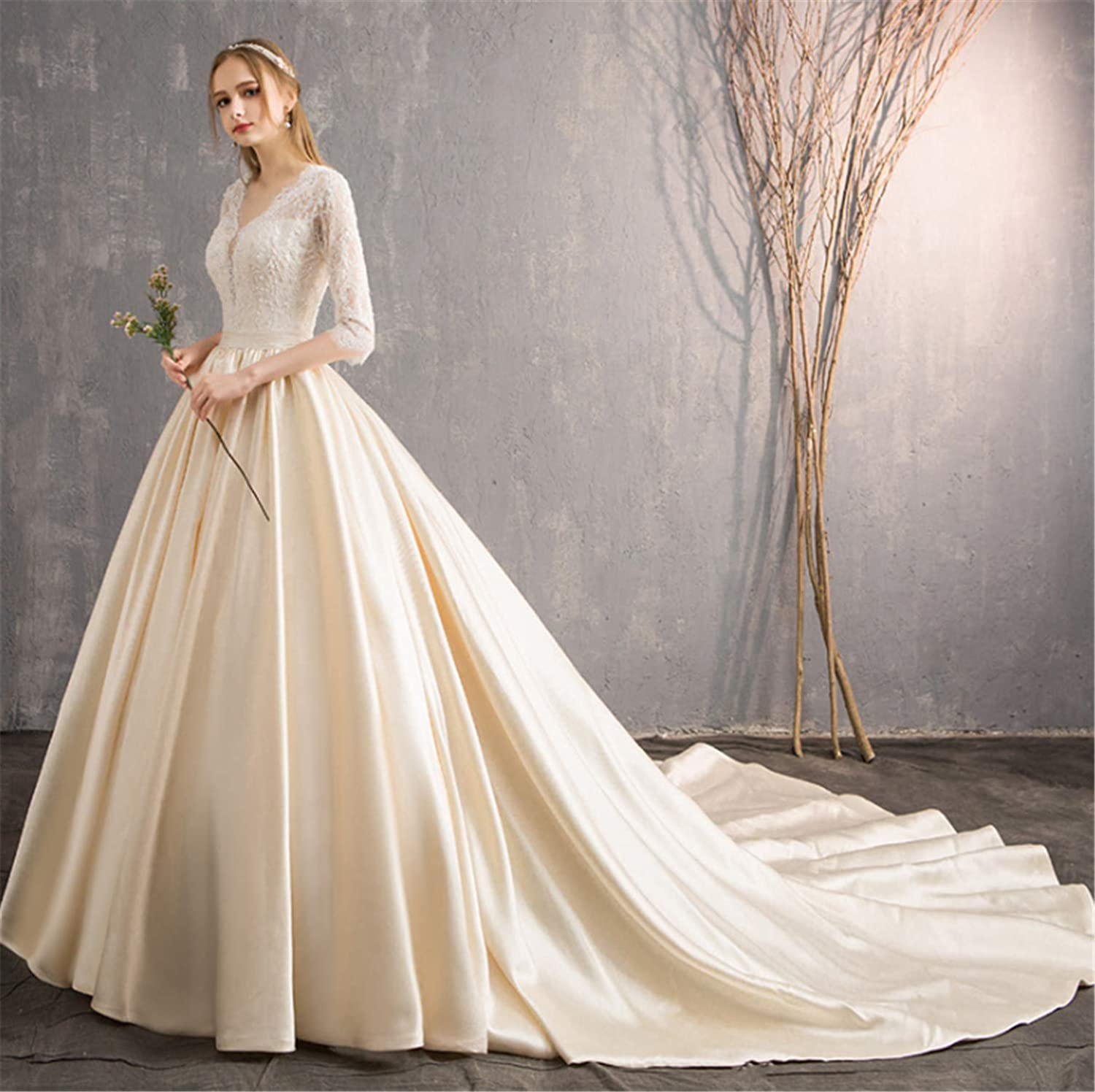 Wedding Dress,Ladies Princess Backless Stylish Wedding Dresswith with Sleeves Perfect Line Dragged Big Long Trailing White and Champagne