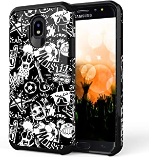ShinyMax Samsung J7 2018 Case,Heavy Duty Dual Layer Protective Cover Cute Anti-Scratch Hybrid Shockproof Drop Absorption Armor Case for Galaxy J7 Star/J7 Refine/J7 Aura/J7 Crown/J737 (Graffiti)