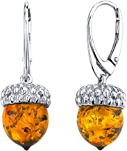 Baltic Amber Sterling Silver Acorn Drop Earrings