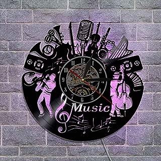 レトロなビニールレコード壁掛け時計、常夜灯 リモコン付き クリエイティブウォールデコレーションギフト - 楽器デザイン,B