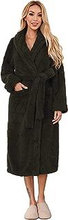 Women's Plush Fleece Robe Shawl Collor Long Warm Spa Bathrobe with Waist Belt