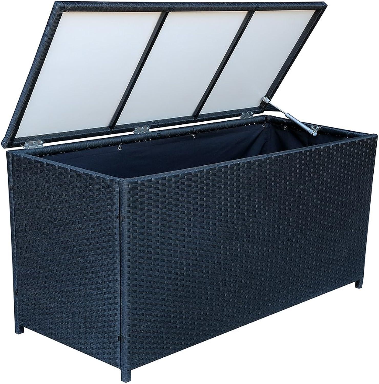 MCombo Poly Rattan Kissenbox Auflagenbox Gartenbox Gartentruhe 260L Schwarz