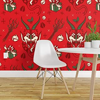 Spoonflower Peel and Stick Removable Wallpaper, Krampus Christmas Xmas Gruss Vom Krampus Naughty Creepy Print, Self-Adhesive Wallpaper 12in x 24in Test Swatch