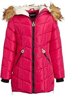 DKNY Girls' Long Length Puffer Jacket with Sherpa Fur Hood