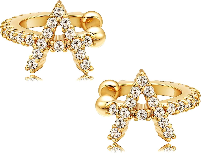 Freekiss Ear Cuff Earrings 18k Gold Plated Dainty Sparkling Cubic Zirconia Earring Cuff Non Piercing Initial Alphabet Letter A-Z Ear Clip on Cartilage Hoop Jewelry for Women