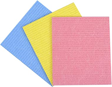 KitchenFest Multipurpose Cellulose and Cotton Sponge Wipes for Kitchen, 3 Piece