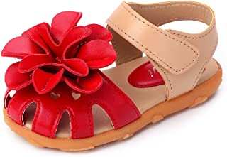 2be113a35b4a Novel Harp Toddler Girls  Closed-Toe Manmade Leather Flower Outdoor Flat  Sport Sandals
