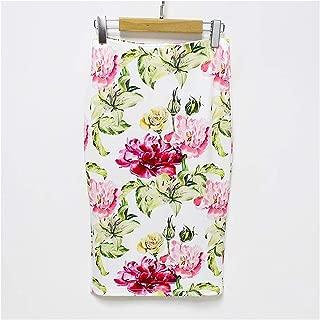 Dreamture Falda de Verano para Mujer, Faldas Verdes, clásico, Elegante, con Estampado Floral, Falda Mediana