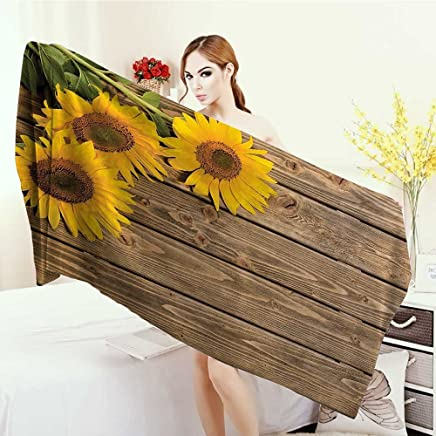 Highly Absorbent Bath Towel Sunflower Decor Collection Three Sunflowers on the Wood Background at Top Left