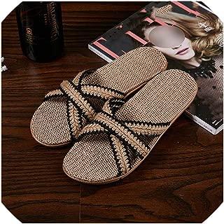 Women Flax Slippers Colored Cross-Tied Indoor Flip Flops Floor Shoes Lovers Home Slippers