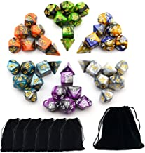 Smartdealspro 6 x 7 Sets(42 Pieces) Two Colors Polyhedral Dice with Free Pouches for Dungeons and Dragons DND RPG MTG Table Games D4 D8 D10 D12 D20