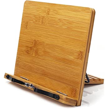 wishacc Bamboo Book Stand, Adjustable Book Holder Tray and Page Paper Clips-Cookbook Reading Desk Portable Sturdy Lightweight Bookstand-Textbooks Books