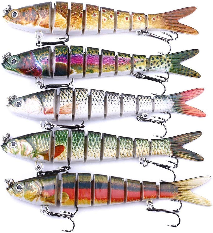 Fishing Bass Lure Multi Jointed Artificial Bait Segment Lifelike Trout Swimbait Hard Crankbait Steel Hooks(5pcs)