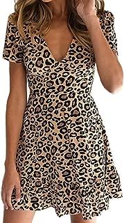 Women's Deep V Neck Animal Leopard Print Short Sleeve Mini Dress 2019 Beach Spring Summer Dress