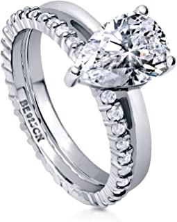 Rhodium Plated Sterling Silver Pear Cut Cubic Zirconia CZ Solitaire Engagement Wedding Ring Set 2.36 CTW