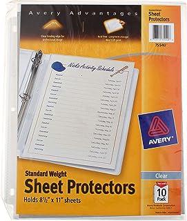 "Sheet Protectors, 3-Hole, Top-Load, 8-1/2""x11"", 10 per Pack, Clear [Set of 3]"