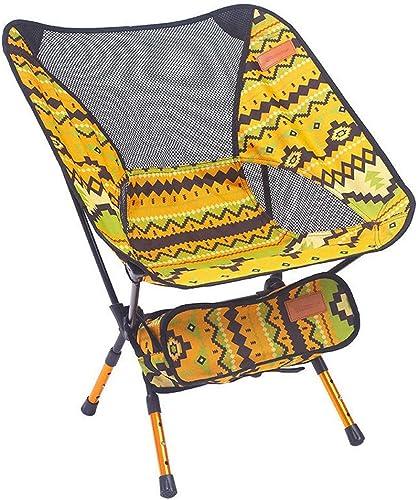 Ultralumière portable Chaise pliable réglable avec dossier et sac de transport, pour la pêche, le camping en plein air, la randonnée, le pique-nique, le parc, à l'extérieur, sur la plage, etc.,jaune