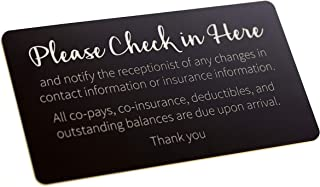 Copay Check in Sign - Black with Laser Engraved Silver Text (9x5)