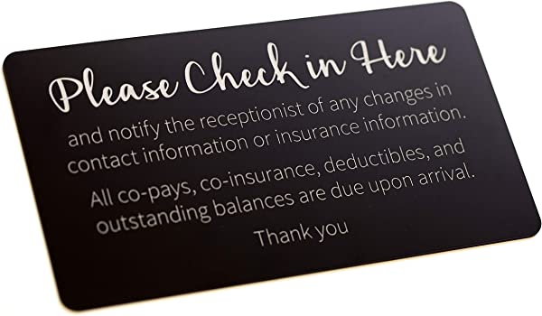 Copay Check In Sign Black With Laser Engraved Silver Text 9x5
