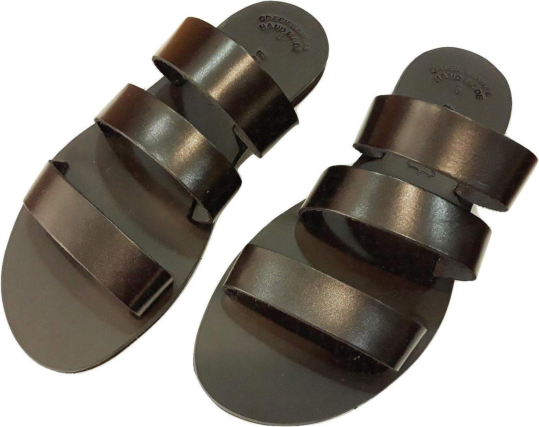 Greek Leather Sandals ISIDORA Women Handmade Ancient Style Slide Flat Summer Spartan Roman Genuine Handcrafted Fashion Shoes Gladiator