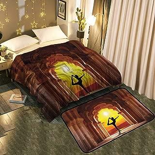 "Flannel Velvet Plush Throw Blanket and Easy Care Area Rug Set Suitable for Bedroom Home Decor Blanket 50""x70""/Mat 2'X4'"
