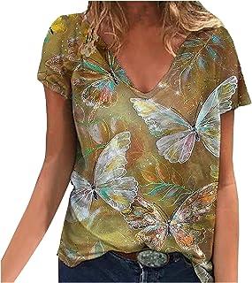 Ainiyo Higlles T-Shirt Damen Blusen Tops Loose Hemd Sweatshirt Langarmshirts Beste Freunde Pullover für Mädchen Frauen Kleider Bedrucktes Lässige Mode Loose V-Ausschnitt Marine Animal Print Kurzarm Tops