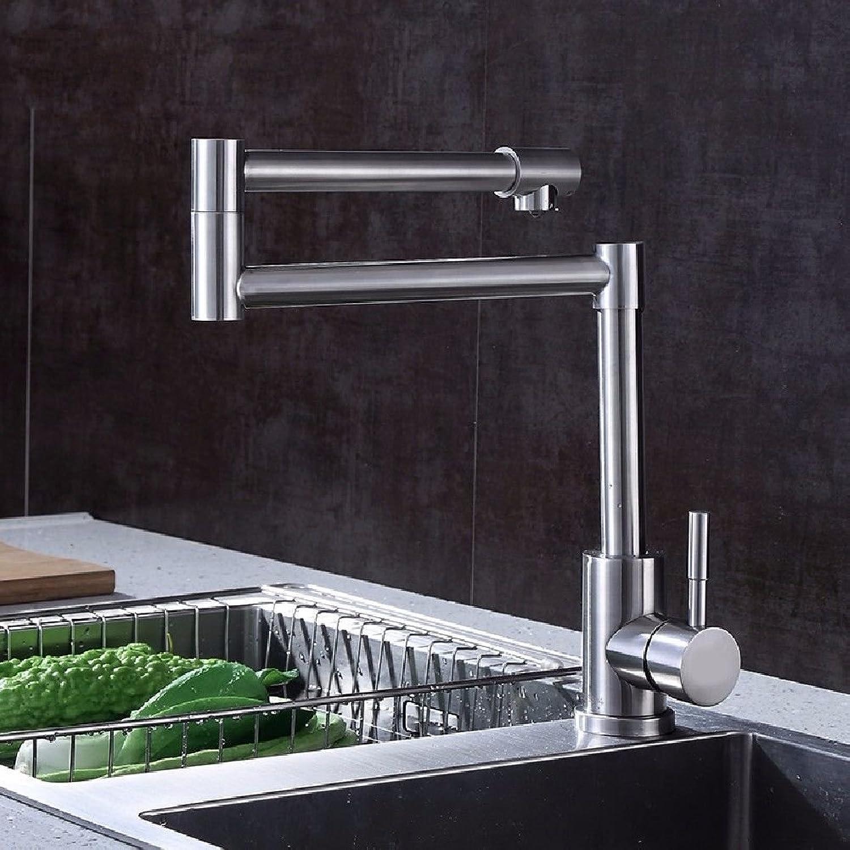 MNLMJ Moderne einfacheKupfer hei und kalt Wasserhhne Küchenarmatur 304 Edelstahl Wasserhahn Universal 360 ° C zusammenklappbar heier und kalter Wasserhahn Geeignet für Badezimmer
