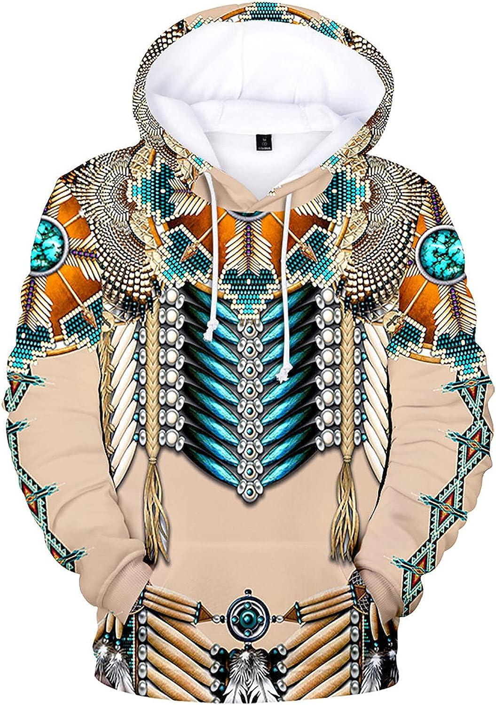 Mens Indians Native Tribal Hoodies Casual 3D Printed Pockets Hooded Sweatshirt
