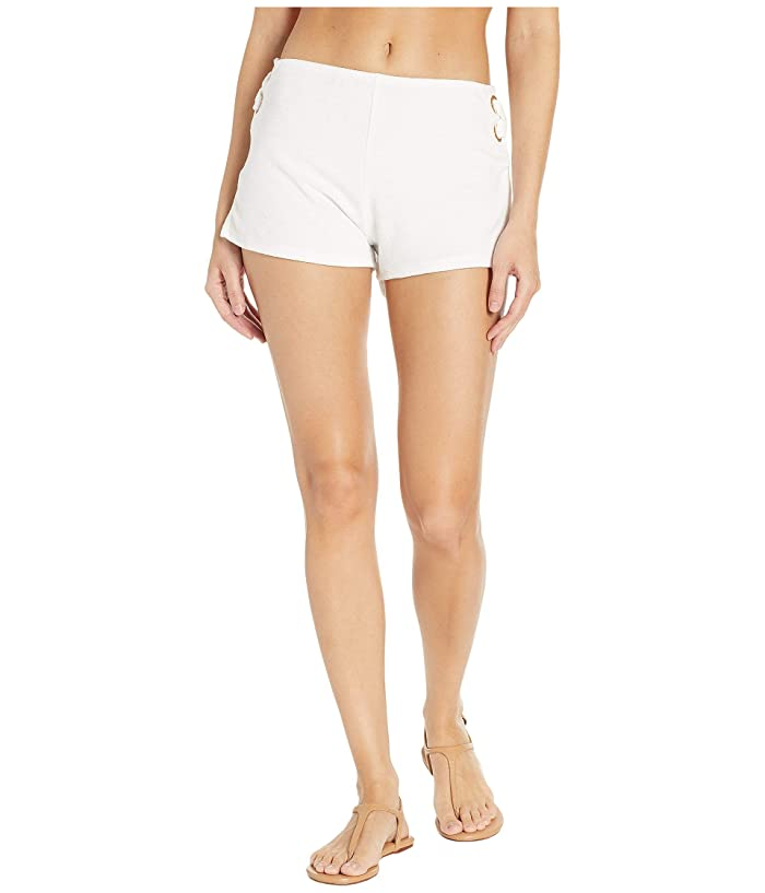 MICHAEL Michael Kors Terry Lace-Up Side Shorts Cover-Up (White) Women