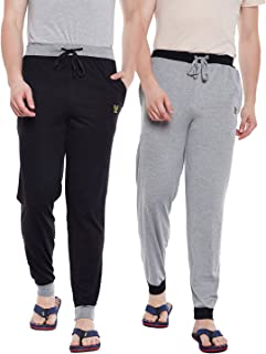 VIMAL JONNEY Men's Light Grey, Black Trackpants(Pack of 2)