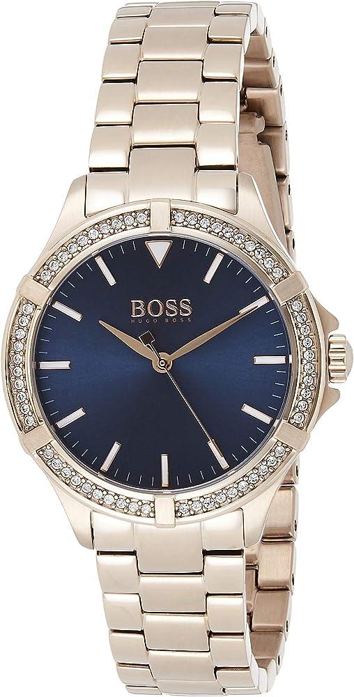 Hugo boss, orologio per donna , in acciaio con placcatura ionica oro rosso e cristalli 1502468
