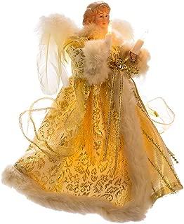 Kurt Adler UL 10-Light Angel Treetop Figurine, 10-Inch, Ivory and Gold