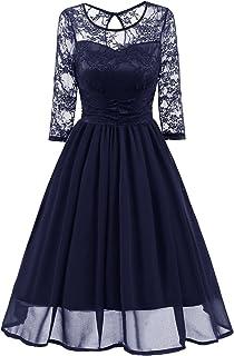 Vestido de dama Vestidos de mujer Vestido de encaje de color sólido Fiesta de boda Noche Moda Primavera Otoño Nuevo Uso diario Nuevo Temperamento ( Color : Blue , tamaño : XXL )