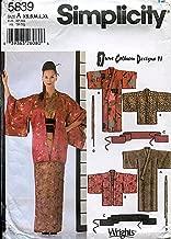 Simplicity Pattern 5839 June Colburn Designs II Misses' Kimono, Haori, Obi, Sash and Tie, Size A (XS-XL)