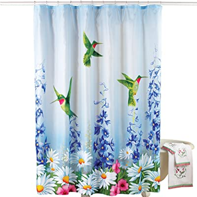 Collections Etc Blue Garden Bliss Hummingbird Shower Curtain with Colorful Flowers - Decorative Spring Bathroom Décor and Accent, Blue