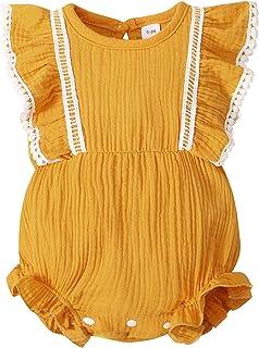 Sponsored Ad - Maacie Infant Cotton Romper Crew Neck Ruffle Decorated Elastic Waist Jumpsuit