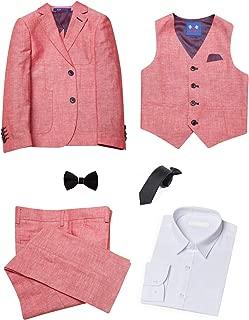 ELPA ELPA Boy's Slim Suit Comfortable and Breathable Casual Suit 6 Pieces Boy Linen Suits Set