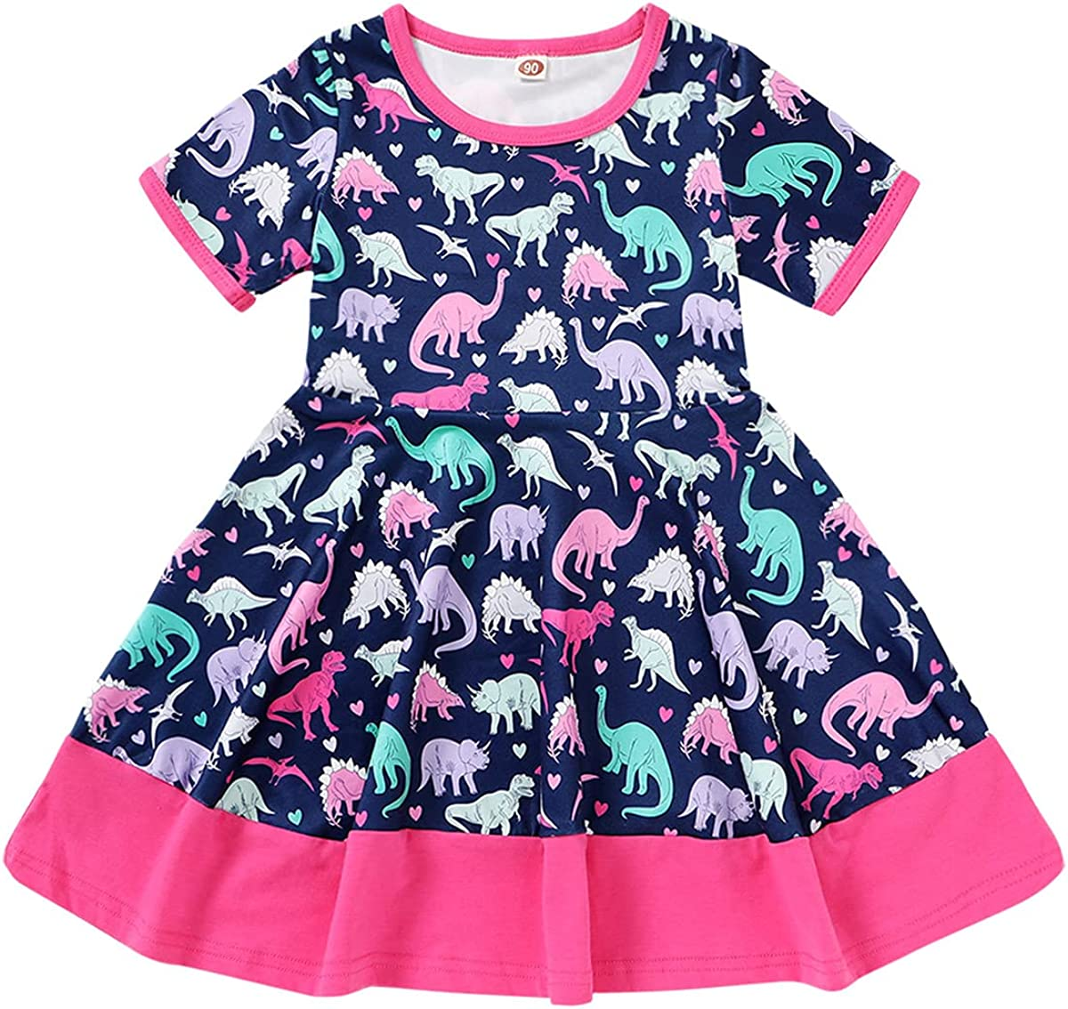 Happy Town Max 76% OFF Kids Baby Girls Dinosaur Fly Clothes Max 42% OFF Ruffle Sle Dress