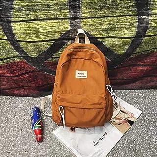 DCIMOR Solid Color Women Backpack Retro Fashion Waterproof Nylon Backpack School Bags for Teenagers Mochilas Travel Backpacks,Orange,29cm13cm38cm