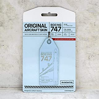 AVT016 AviationTag Boeing 747 (Cathay Pacific) Light Blue Original Aircraft Skin Keychain/Luggage Tag/Etc with Lost & Found Feature